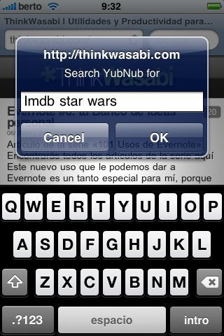 Bookmarklet iPhone YubNub