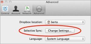 Selective Sync en Dropbox