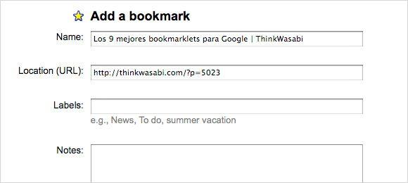Bookmarklet Google Bookmarks