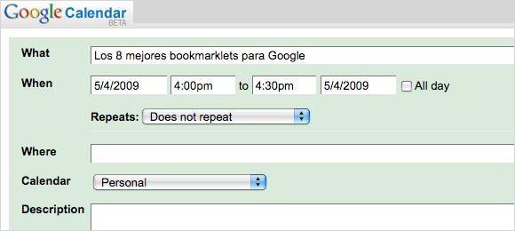 Bookmarklet Google Calendar